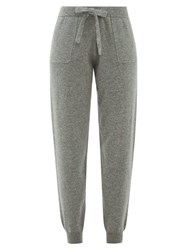 Allude Tapered Leg Virgin Wool Blend Track Pants Grey