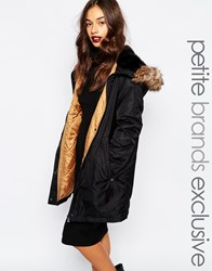 Vero Moda Petite Parka Coat With Faux Fur Trim Black