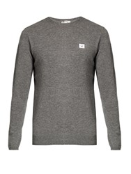 Acne Studios Dasher Face Patch Wool Sweater Light Grey
