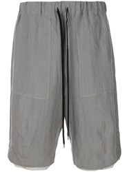 Individual Sentiments Drawstring Waist Shorts Grey