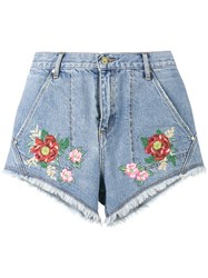House Of Holland Lee Flower Embroidered Denim Shorts Blue