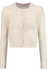Tory Burch Simone Cropped Merino Wool Cardigan Cream