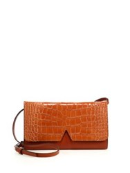 Vince Signature V Crocodile Embossed Leather And Smooth Leather Crossbody Bag