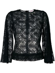 Jucca Lace Overlay Top Women Cotton Nylon 44 Black