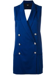 Versus Double Breasted Waistcoat Blue