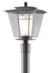 Hubbardton Forge Beacon Hall Outdoor Post Light Incandescent Dark Smoke Opal And Clear Gray