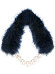 Twin Set Faux Fur And Pearl Scarf Blue