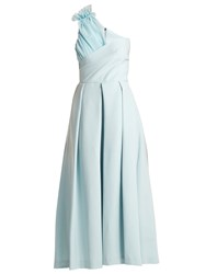 Preen Ted Asymmetric Bodice Cady Midi Dress Light Blue