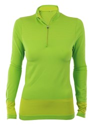 Green Lamb Striped Zip Neck Base Layer Green