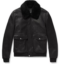 Dunhill Shearling Trimmed Leather Aviator Jacket Black