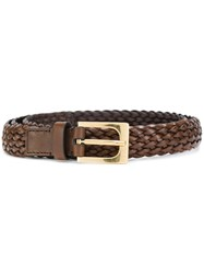 Tom Ford Woven Texture Belt Calf Leather Brass Brown