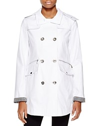 Laundry By Shelli Segal Waxed Cotton Double Breasted Raincoat Optic White