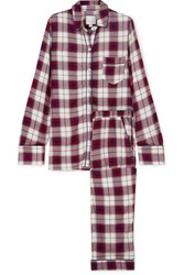 Three J Nyc Checked Flannel Pajama Set Red