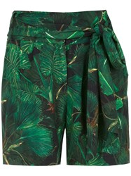 Isolda Lauren Printed Shorts Green