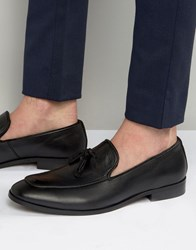 Dune Tassel Loafers In Black Leather Black