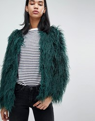 Blend She Feyla Crimped Faux Fur Jacket Sycamore Gree Green