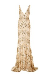 Naeem Khan Embellished V Neck Gown Gold