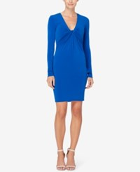 Catherine Malandrino Ruched V Neck Sheath Dress Madrid Cobalt