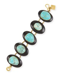 Ashley Pittman Dark Horn And Turquoise Bracelet