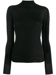 Joseph High Neck Knitted Top Black