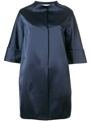 Gianluca Capannolo Glossy Collarless Coat Blue