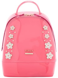 Furla Floral Backpack Pink Purple