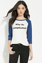 Forever 21 Complicated Graphic Baseball Tee Cream Navy