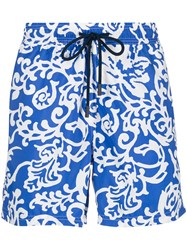 Etro Paisley Drawstring Swim Shorts Blue