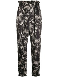 8Pm Floral Print Pull On Trousers Black