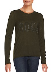 Zadig And Voltaire Miss Printed Long Sleeve Cashmere Top Olive