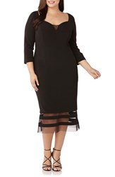 Js Collections Plus Size Sweetheart Neck Mesh Inset Sheath Dress Black