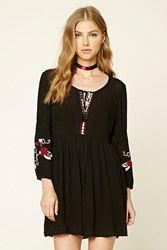 Forever 21 Embroidered Peasant Dress Black Wine