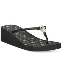 Bebe Sport Rylie Wedge Sandals Women's Shoes Black