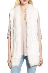 Love Token Genuine Rabbit Fur Vest With Genuine Fox Fur Trim