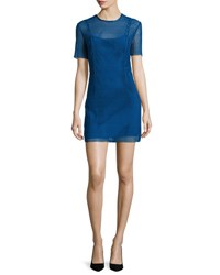 Diane Von Furstenberg Short Sleeve Chain Lace Mini Dress Blue