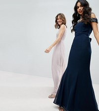Maya Bardot Sequin Detail Maxi Dress With Bow Back Detail Navy