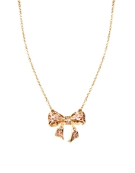 Ted Baker Pave Crystal Small Bow Necklace Gold