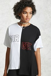 Forever 21 Forget Graphic Colorblock Tee Black White