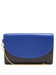 Diane Von Furstenberg Saddle Bi Colour Leather Clutch Black Blue