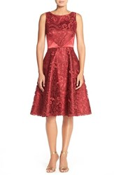 Petite Women's Tahari Corded Lace Fit And Flare Dress