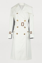 Alexander Mcqueen Dual Material Trench Coat 9001 Light Ivory