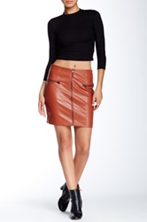 Romeo And Juliet Couture Zipper Faux Leather Mini Skirt Gray