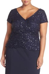 Adrianna Papell Sequin Wrap Front Top Plus Size Blue