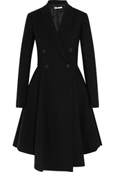 Givenchy Peplum Coat In Black Stretch Wool