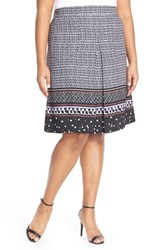 Plus Size Women's Eloquii Pleat Front Print A Line Skirt