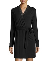 Cosabella Never Say Never Lace Trim Short Wrap Robe Black