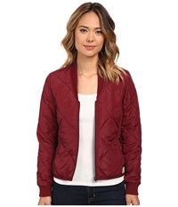 Obey Darby Lightweight Puffer Jacket Oxblood Women's Coat Red