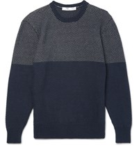 Inis Meain Gansey Waffle Knit Linen And Cotton Blend Sweater Navy