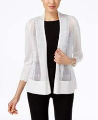 Alfani Mixed Stitch Cardigan Only At Macy's Bright White