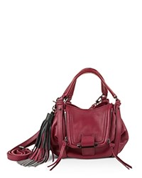 Kooba Jonnie Tassel Mini Leather Crossbody Raspberry Gunmetal